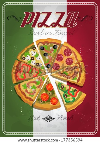 Vector Poster With Pizza And A Slice Of Italian Food Vintage Style