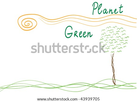 Vector poster with stylized tree, sun and grass. Line-art - stock vector