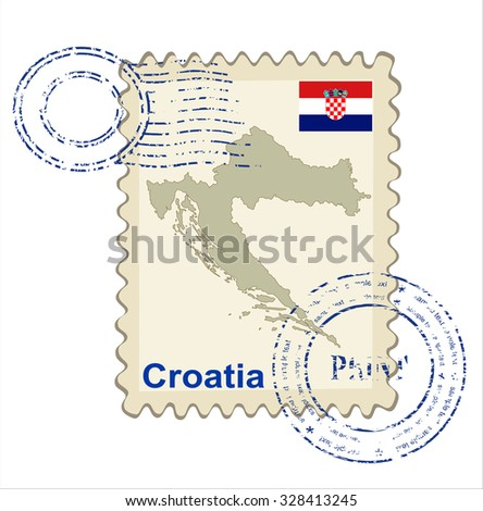 Vector postmark with map of Croatia Including: flag of Croatia. - stock vector