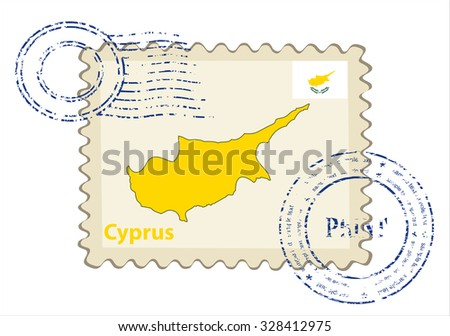 Vector postmark with map of Cyprus Including: flag of Cyprus. - stock vector
