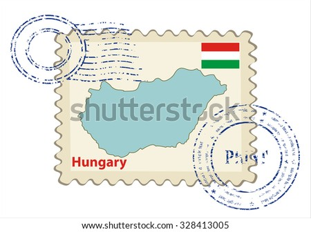 Vector postmark with map of Hungary Including: flag of Hungary. - stock vector