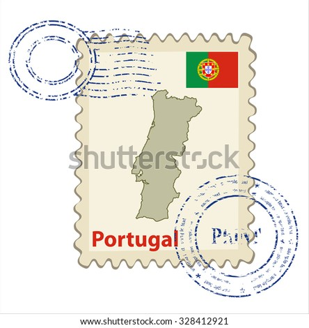 Vector postmark with map of Portugal Including: flag of Portugal. - stock vector