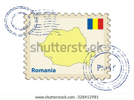 Vector postmark with map of Romania Including: flag of Romania. - stock vector