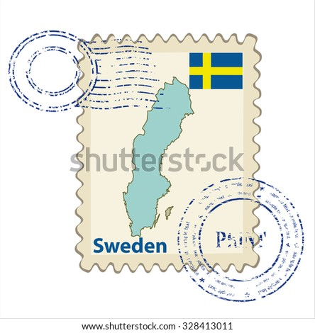 Vector postmark with map of Sweden Including: flag of Sweden. - stock vector