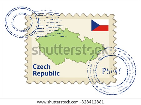 Vector postmark with map of the Czech Republic Including: flag of Czech Republic. - stock vector