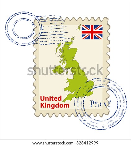 Vector postmark with map of the United Kingdom Including: flag of  the United Kingdom. - stock vector