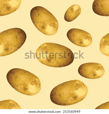 Vector potatoes repeating pattern - stock vector