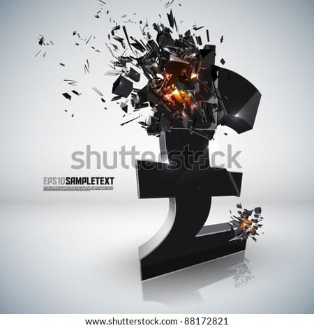 Vector Pound Sign Crushing - stock vector