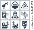 Vector power industry icons set: bared wire, supply meter, danger sign, multimeter, electrician, power line, power plant, power supply, plug and receptacle - stock vector
