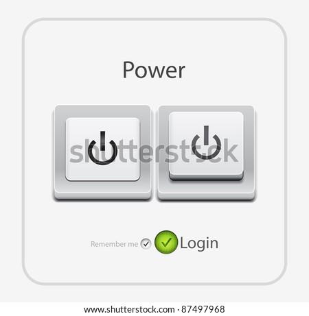 Vector power key - stock vector