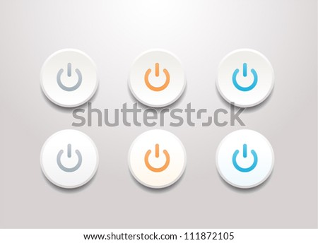 Vector power sphere buttons isolated on white background - stock vector
