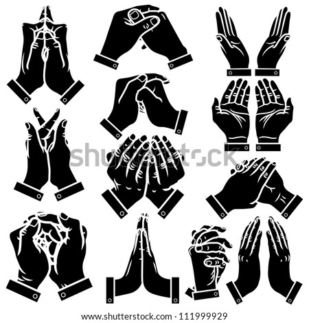 Vector praying hands silhouettes set - stock vector