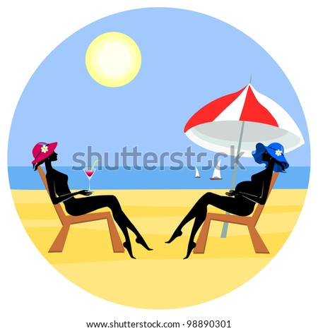 Vector pregnant woman and sexy woman on summer beach - stock vector