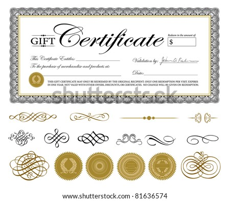 Vector Premium Certificate Template and Ornaments. Easy to edit. Perfect for gift certificates and other awards. - stock vector