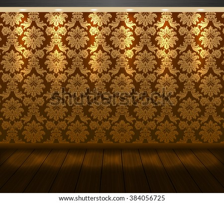 Vector presentation baroque design scene with spotlight and wooden floor. Vip room wall with golden floral pattern wallpaper and warm light. Showcase background for you project. - stock vector