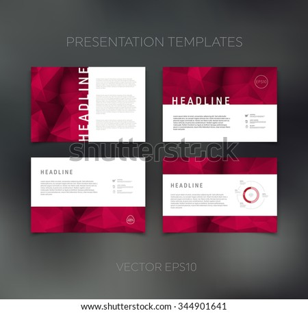 Vector presentation design templates collection with geometric polygonal backgrounds