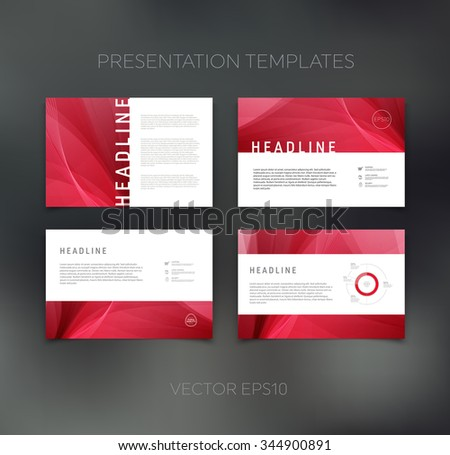 Vector presentation design templates collection with smooth and soft backgrounds - stock vector