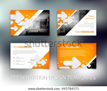 Vector presentation design templates collection with white 3d rounded arrows - stock vector