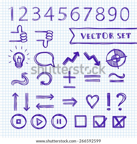 Vector presentation elements set, hand-drawn, pen on notebook sheet