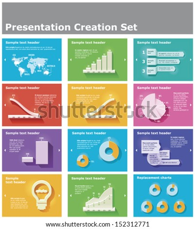 Vector presentation or infographic elements - bar and pie charts, graphs, World map - stock vector