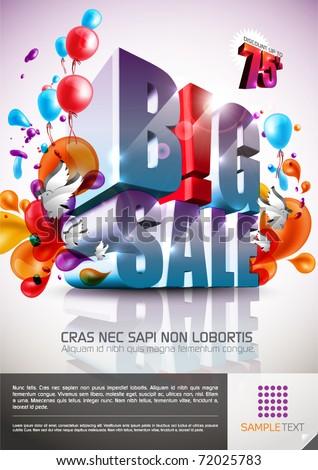 Vector Press Advertisement Template - B!G SALE - stock vector