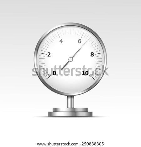 Vector Pressure Gauge Manometer Isolated on White Background - stock vector