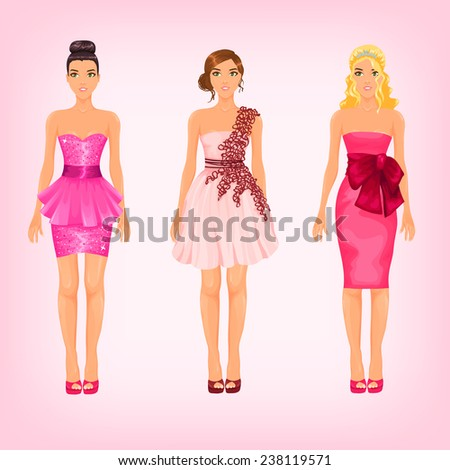 Vector pretty females in different pink cocktail and prom dresses