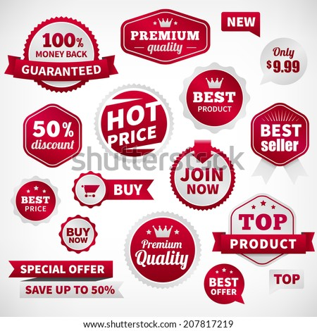 vector price offer banner labels set. Isolated from background. layered. - stock vector