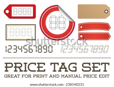 Vector Price Tag Set enable for print or manual price edit - stock vector
