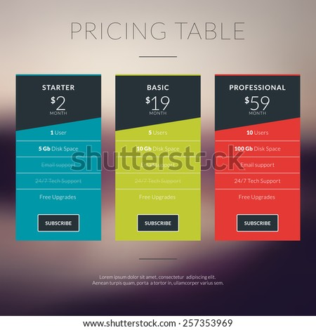 Vector pricing table in flat design style for websites and applications - stock vector