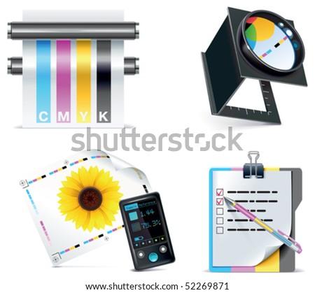 Vector print shop icon set. Part 5 - stock vector