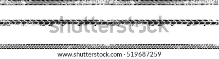 Vector Print Textured Tire Track . Design Element .Bike thread silhouette