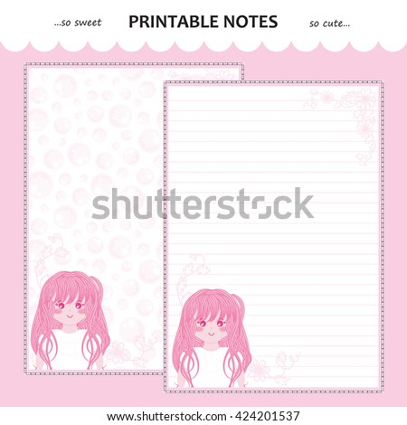 Vector Printable Letter Paper Stationery. Flat Cartoon Style. Kawaii Manga  Anime Girl, Doodle