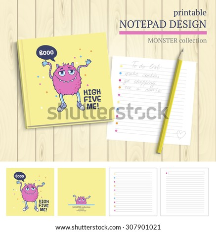 Vector Printable Notepad Design Cover And Papers With Cartoon Monsters.  Printable Notepad Paper