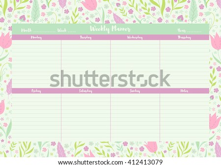 Vector printable weekly planner template on floral background  - stock vector