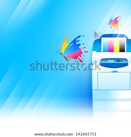 vector printer background abstract blue texture - stock vector