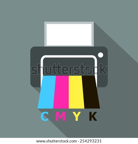 Vector printer icon, CMYK colors, flat style - stock vector