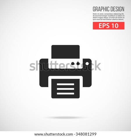 Vector printer icon. Simple black icon. Modern flat design vector illustration, quality concept for web banners, web and mobile applications, infographics. Vector icon isolated on gradient background - stock vector