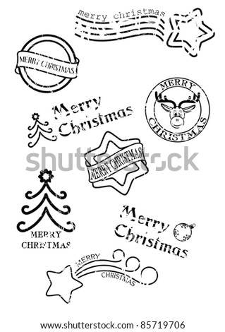 vector - prints of stamps with christmas motives isolated on white background - stock vector