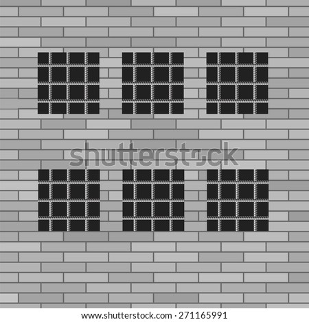 Vector Prison Grey Brick Wall with Windows. Jail Wall. - stock vector