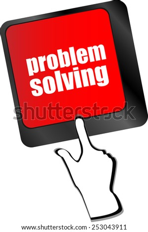 vector problem solving button on computer keyboard key - stock vector