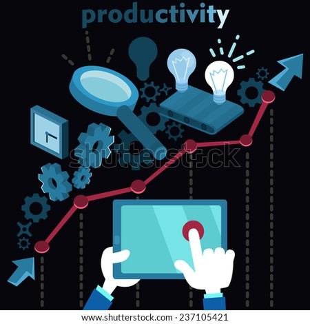 Vector productivity workflow business process illustration in flat infographic style with diagram and cogwheel - stock vector