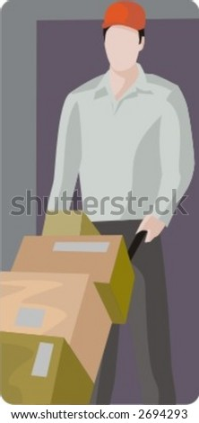 Vector profession series. Delivery man. - stock vector