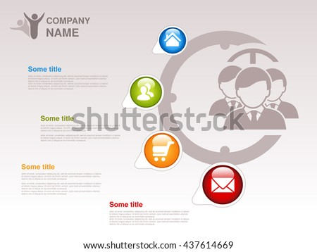 Vector profile of company.  Infographic template. Symbol of businessmen with blue, green, orange, red button with Home symbol,  About us symbol, Product or Buy symbol and Contact symbol.