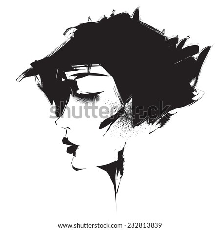 Vector profile of girl - stock vector