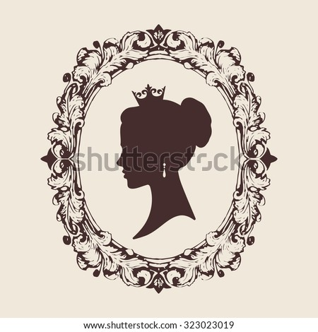 Vector profile silhouette of a princess in a frame. Jewelry salon design illustration - stock vector