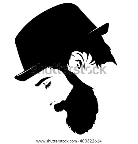 Vector Profile View Sad Bearded Man Stock Vector 403322614