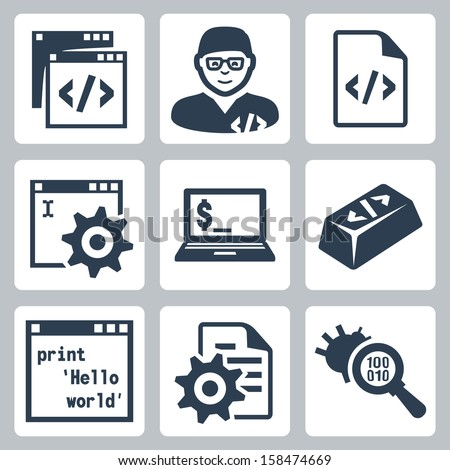 Vector programming and software development icons set - stock vector