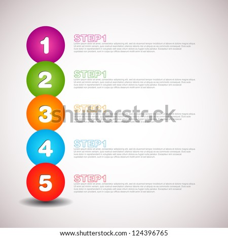 Vector progress icons - one two three four five - stock vector