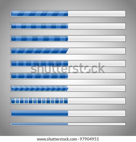 Vector progress loading bars in blue colors - stock vector